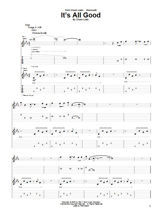 Tablature guitare It's All Good de Chuck Loeb - Tablature Guitare