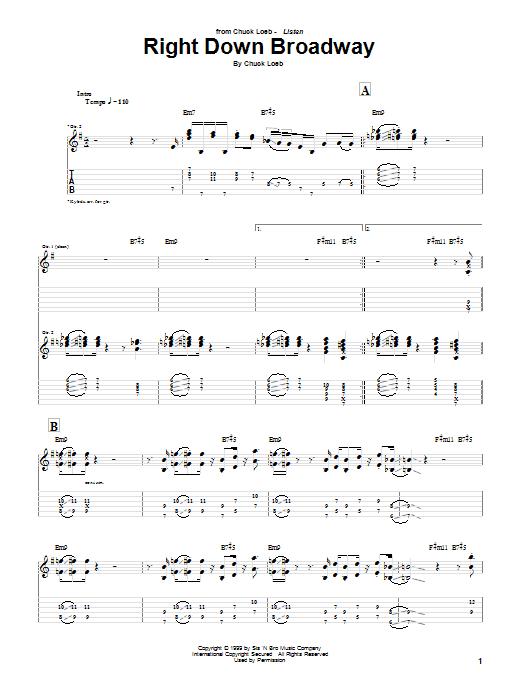 Tablature guitare Right Down Broadway de Chuck Loeb - Tablature Guitare