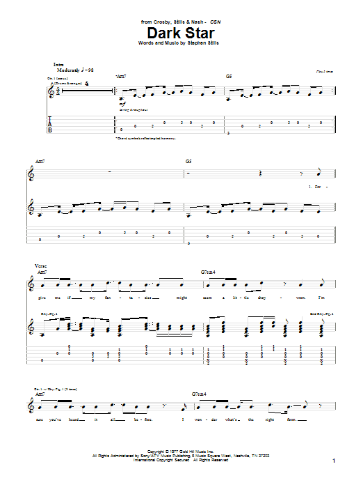 Tablature guitare Dark Star de Crosby, Stills & Nash - Tablature Guitare