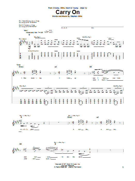 Tablature guitare Carry On de Crosby, Stills & Nash - Tablature Guitare