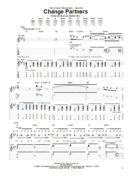 Tablature guitare Change Partners de Crosby, Stills & Nash - Tablature Guitare