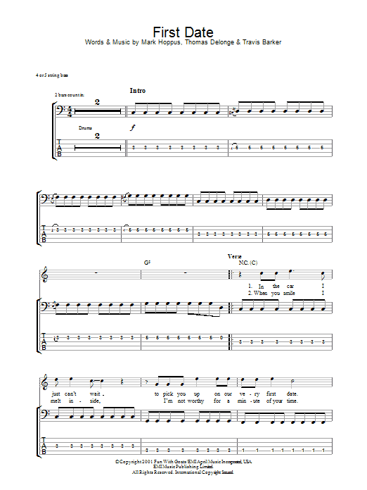 First Date sheet music for bass (tablature) (bass guitar) by Travis Barker