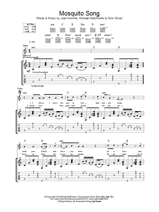 Mosquito Song sheet music for guitar solo (tablature) by Nick Oliveri