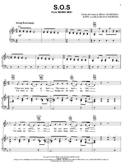 Partition piano S.O.S. de ABBA - Piano Voix Guitare (Mélodie Main Droite)