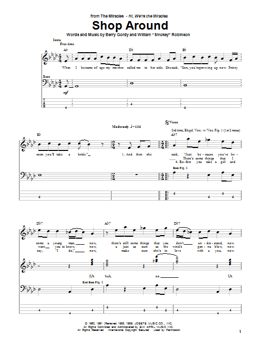 Tablature guitare Shop Around de The Miracles - Tablature Basse
