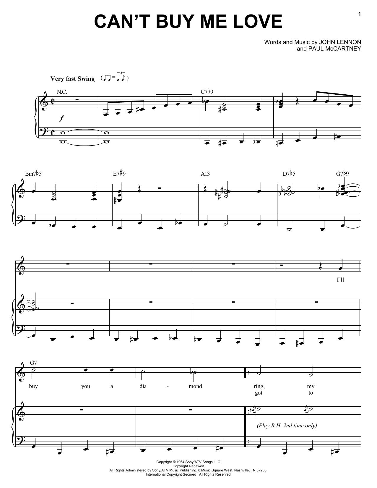 Partition piano Can't Buy Me Love de Michael Buble - Piano Voix