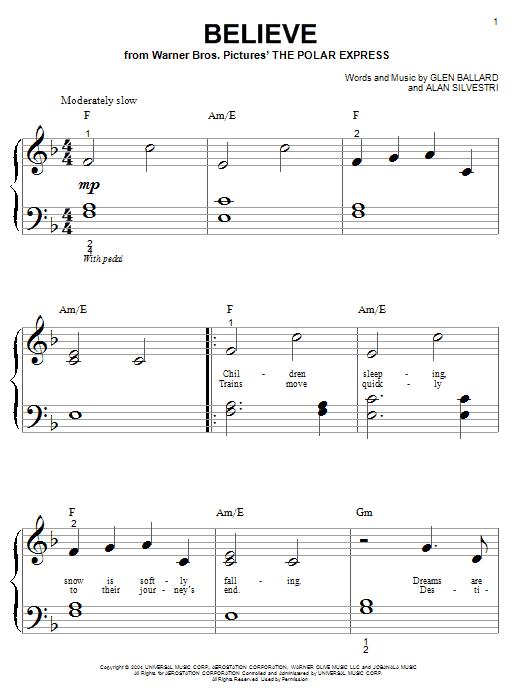 Partition piano Believe de Josh Groban - Piano Facile