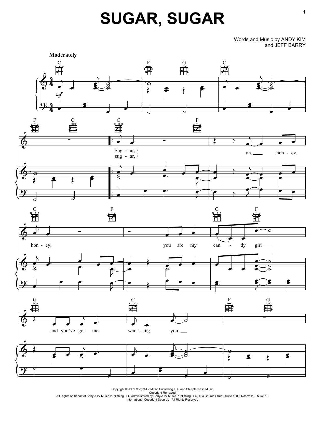 Partition piano Sugar, Sugar de The Archies - Piano Voix Guitare (Mélodie Main Droite)