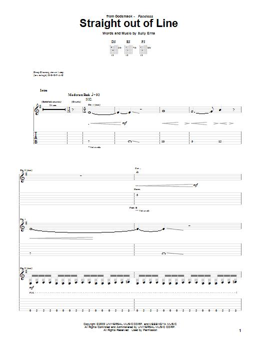 Tablature guitare Straight Out Of Line de Godsmack - Tablature Guitare