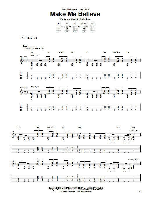 Tablature guitare Make Me Believe de Godsmack - Tablature Guitare