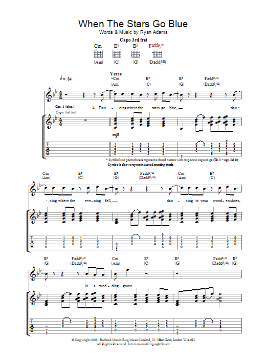 When The Stars Go Blue sheet music for guitar solo (tablature) by Ryan Adams