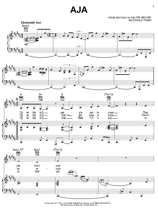 Aja sheet music for voice, piano or guitar by Walter Becker