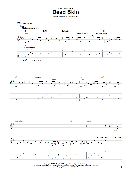 Tablature guitare Dead Skin de Crossfade - Tablature Guitare