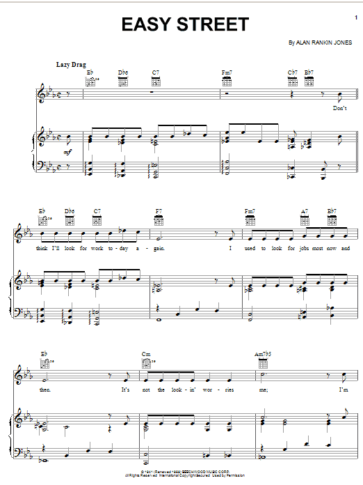 Easy Street sheet music for voice, piano or guitar by Alan Rankin Jones