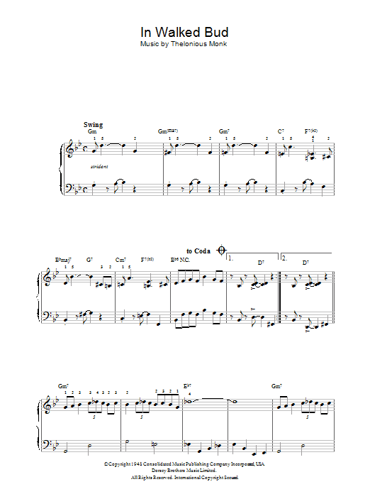 In Walked Bud sheet music for piano solo by Thelonious Monk