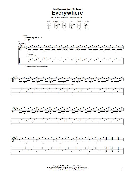 Tablature guitare Everywhere de Fleetwood Mac - Tablature Guitare