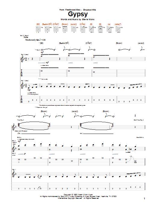Tablature guitare Gypsy de Fleetwood Mac - Tablature Guitare