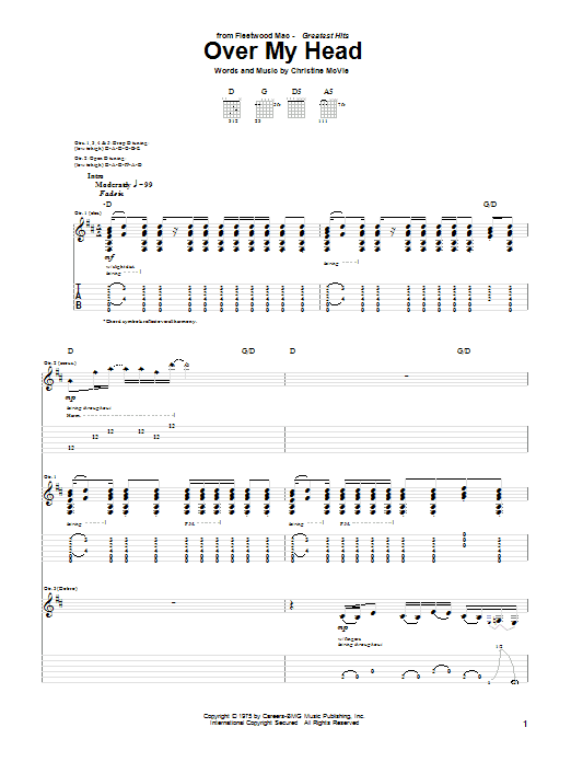 Tablature guitare Over My Head de Fleetwood Mac - Tablature Guitare