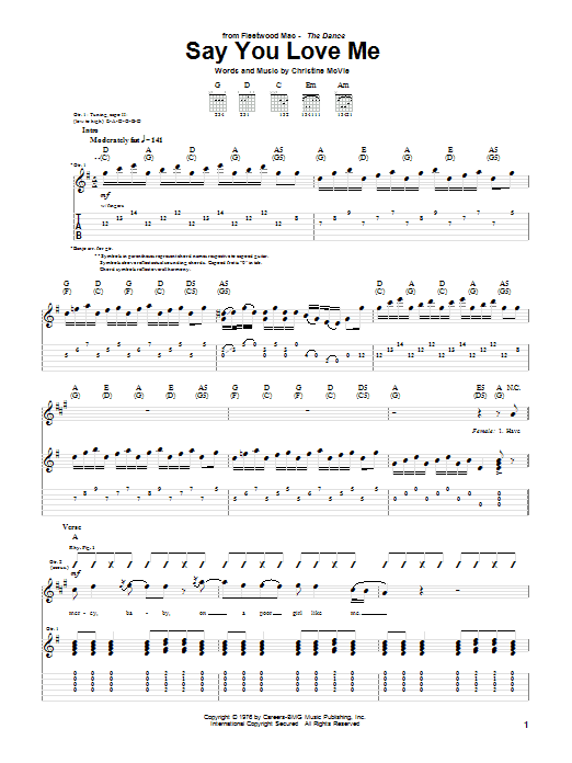 Tablature guitare Say You Love Me de Fleetwood Mac - Tablature Guitare