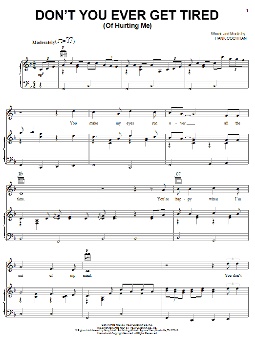 Don't You Ever Get Tired (Of Hurting Me) sheet music for voice, piano or guitar by Hank Cochran