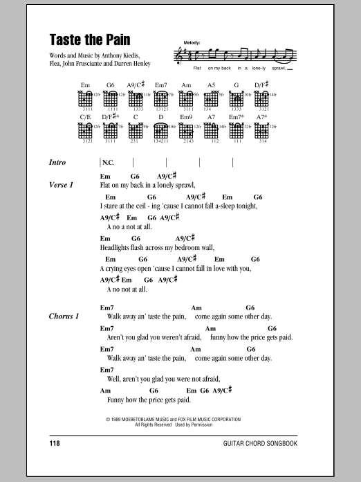 Taste The Pain sheet music for guitar solo (chords, lyrics, melody) by John Frusciante
