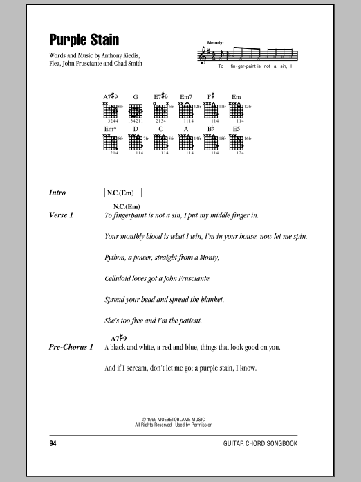 Purple Stain sheet music for guitar solo (chords, lyrics, melody) by John Frusciante