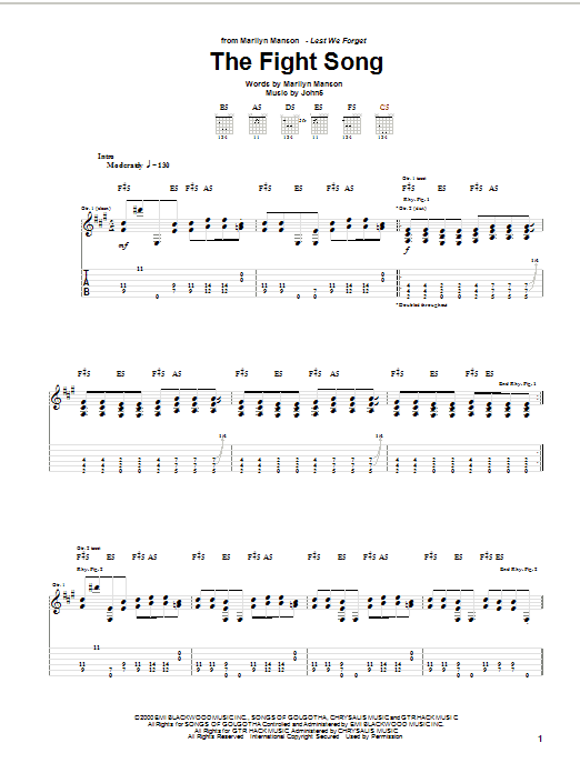 Tablature guitare The Fight Song de Marilyn Manson - Tablature Guitare