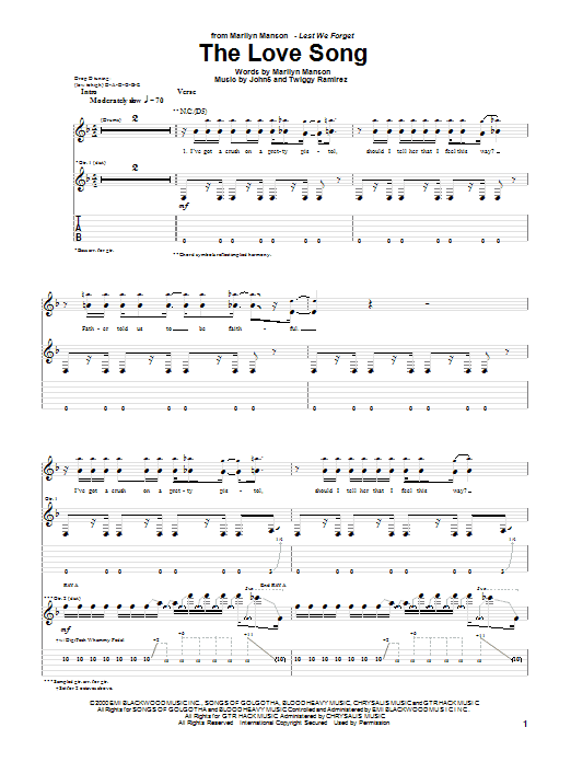The Love Song sheet music for guitar solo (tablature) by Twiggy Ramirez