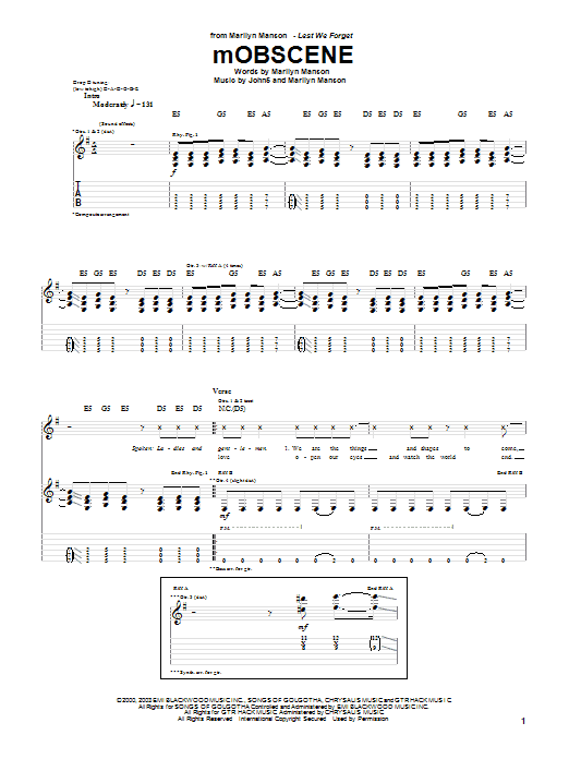 Tablature guitare Mobscene de Marilyn Manson - Tablature Guitare