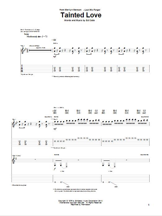 Tablature guitare Tainted Love de Marilyn Manson - Tablature Guitare