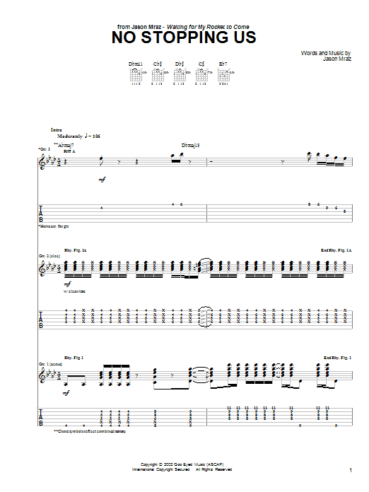 Tablature guitare No Stopping Us de Jason Mraz - Tablature Guitare