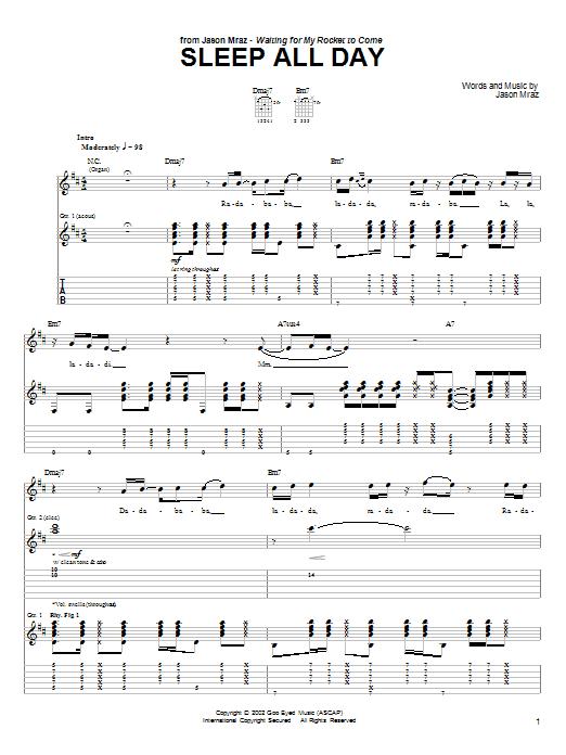 Tablature guitare Sleep All Day de Jason Mraz - Tablature Guitare