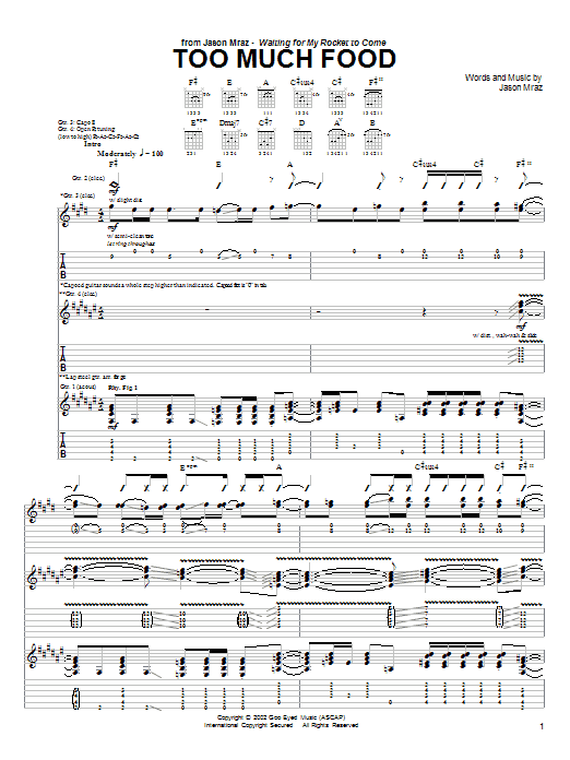 Tablature guitare Too Much Food de Jason Mraz - Tablature Guitare