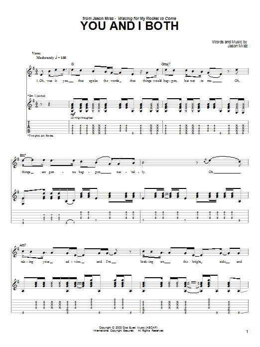 Tablature guitare You and I Both de Jason Mraz - Tablature Guitare