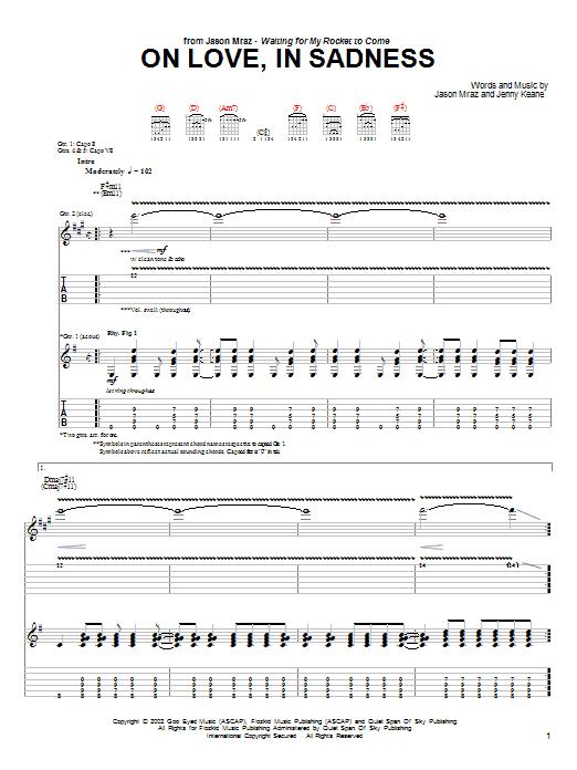 Tablature guitare On Love, In Sadness de Jason Mraz - Tablature Guitare