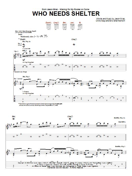 Tablature guitare Who Needs Shelter de Jason Mraz - Tablature Guitare