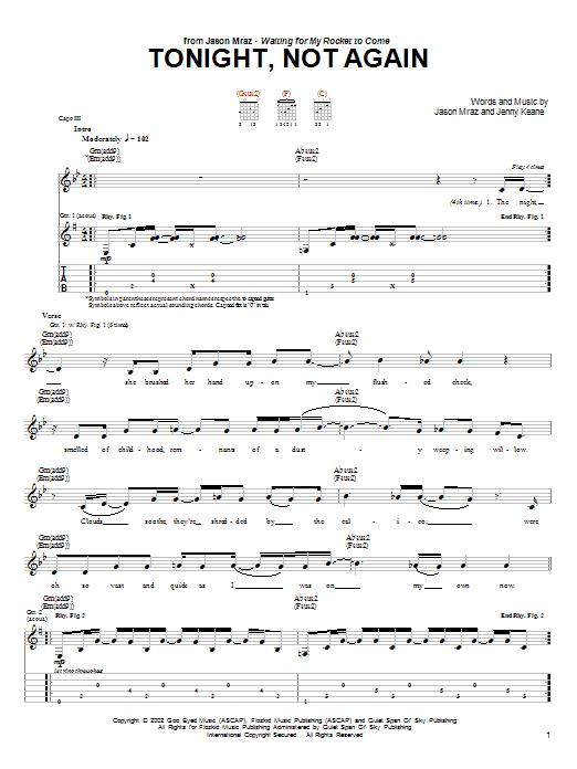 Tablature guitare Tonight, Not Again de Jason Mraz - Tablature Guitare