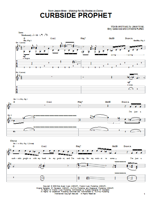Curbside Prophet sheet music for guitar solo (tablature) by Christina Ruffalo