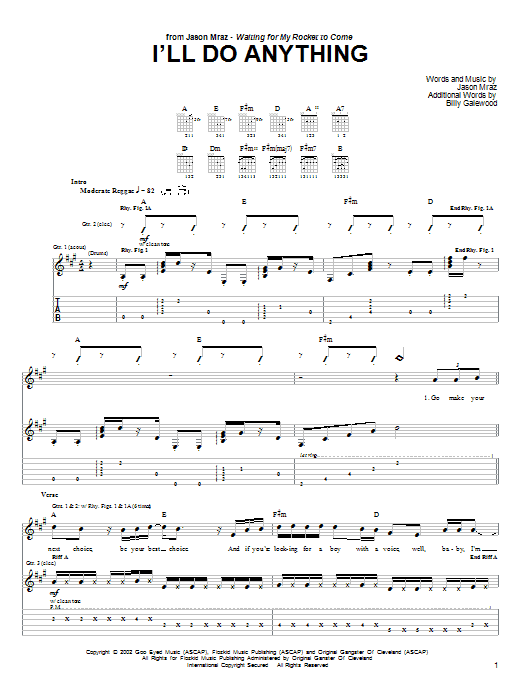 Tablature guitare I'll Do Anything de Jason Mraz - Tablature Guitare