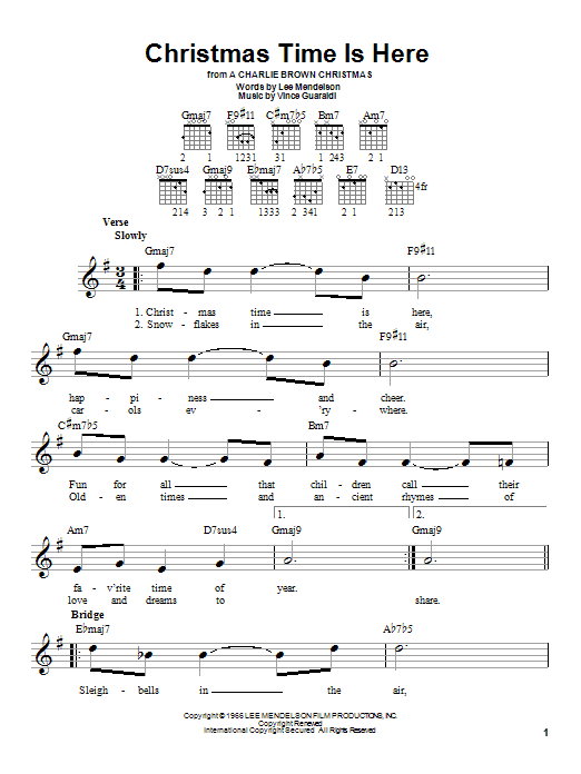 Tablature guitare Christmas Time Is Here (from A Charlie Brown Christmas) de Vince Guaraldi - Tablature guitare facile