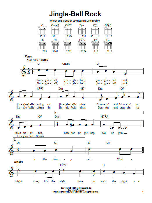 Jingle-Bell Rock sheet music for guitar solo (chords) by Joe Beal