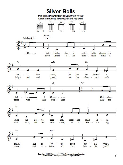 Tablature guitare Silver Bells de John Denver - Tablature guitare facile