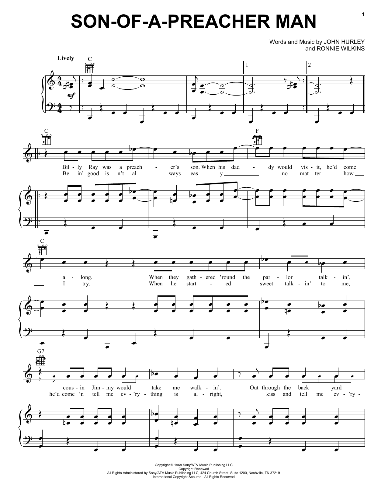 Partition piano Son Of A Preacher Man de Dusty Springfield - Piano Voix Guitare (Mélodie Main Droite)