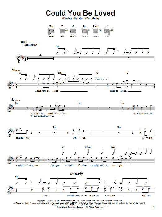 Tablature guitare Could You Be Loved de Bob Marley - Tablature guitare facile