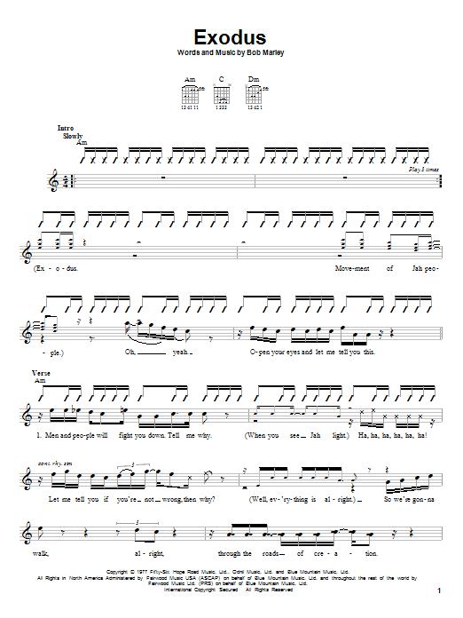 Tablature guitare Exodus de Bob Marley - Autre