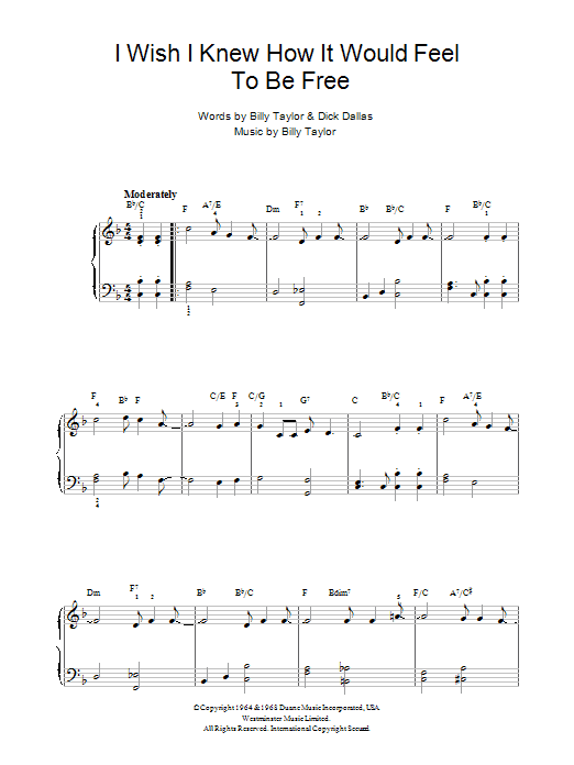 I Wish I Knew How It Would Feel To Be Free sheet music for piano solo