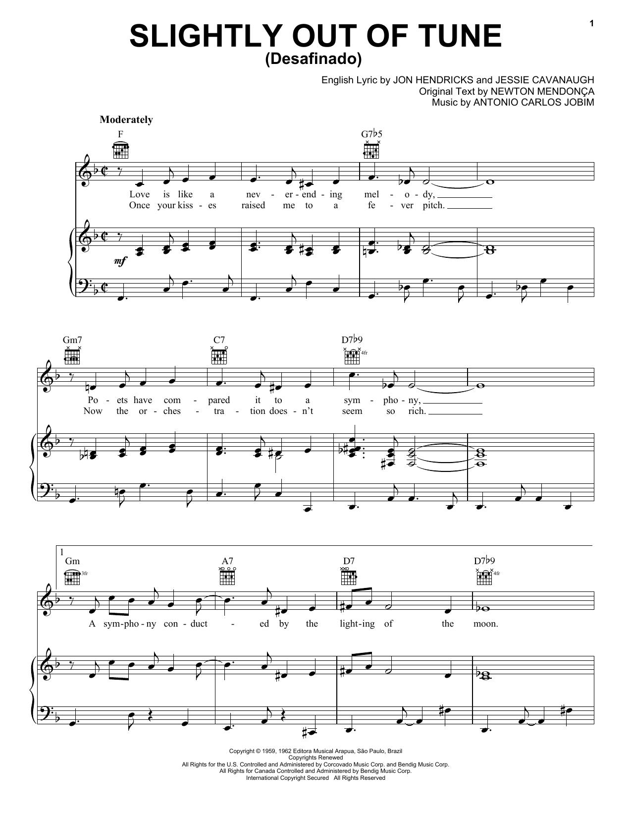 Partition piano Desafinado (Slightly Out Of Tune) de Antonio Carlos Jobim - Piano Voix Guitare (Mélodie Main Droite)
