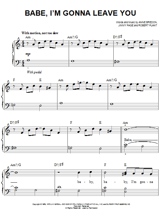 Babe, I'm Gonna Leave You sheet music for piano solo (chords) by Robert Plant
