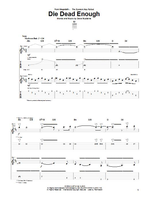 Tablature guitare Die Dead Enough de Megadeth - Tablature Guitare