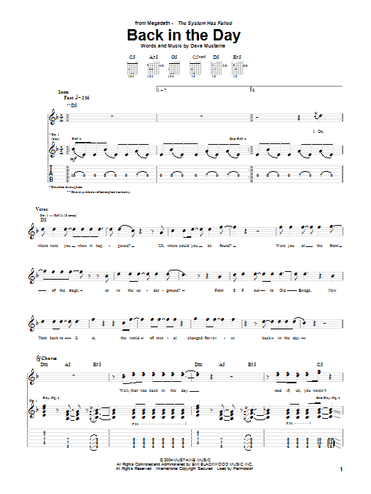 Tablature guitare Back In The Day de Megadeth - Tablature Guitare
